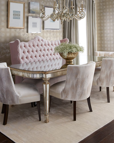 Tiffany Chair, Isabella Banquette, & Eliza Antiqued Mirrored Dining Table