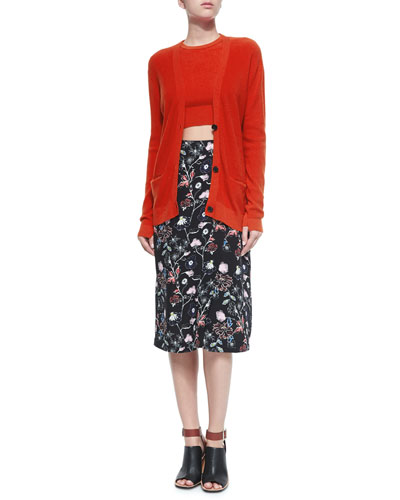 Philip Button-Front Cardigan, Hansen Cropped Sweater & Daniels Floral-Print Skirt
