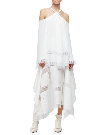 Derek Lam Cold-Shoulder Caftan Blouse, White