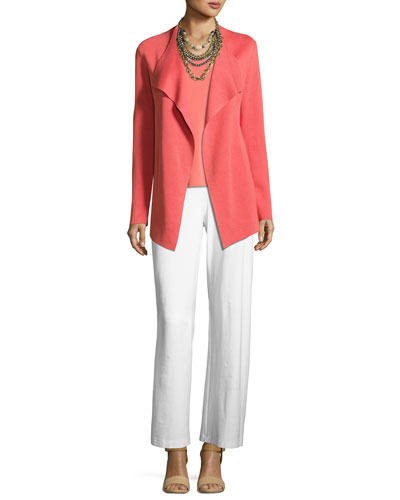 Open Interlock Jacket, Silk-Jersey Tank Top & Wide-Leg Stretch-Crepe Pants