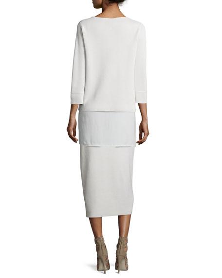 3/4-Sleeve Silk/Cotton Interlock Box Top