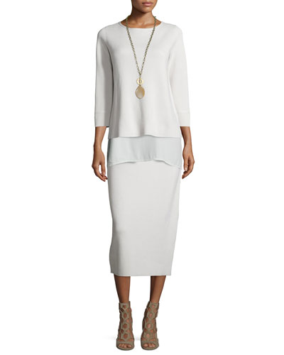 3/4-Sleeve Silk Cotton Interlock Box Top, Sleeveless Silk Long Shell & Washable Calf-Length Pencil Skirt