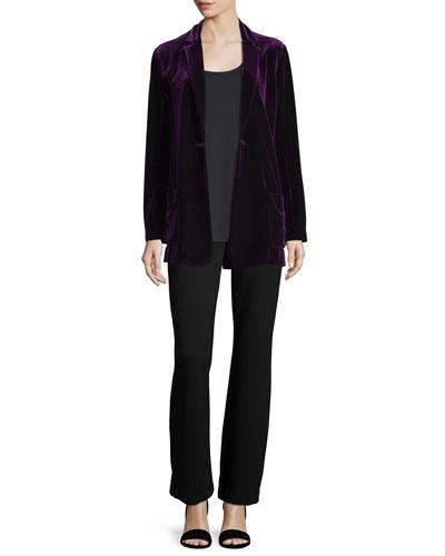 Velvet Button-Front Jacket, Soft Scoop-Neck Tank & Ponte Boot-Leg Pants