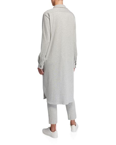 Joan Vass Long Button-Front Knit Cotton Shirtdress