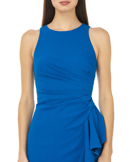 Image 3 of 3: Carmen Marc Valvo Infusion Crepe Halter Gown with Side Ruffle
