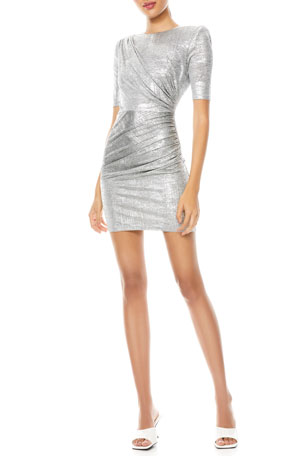 Alice + Olivia Stella Ruched Metallic Midi Dress