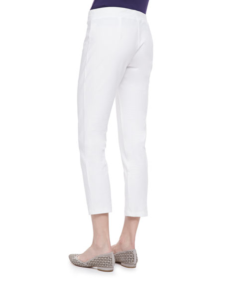 Washable Stretch-Crepe Ankle Pants, White