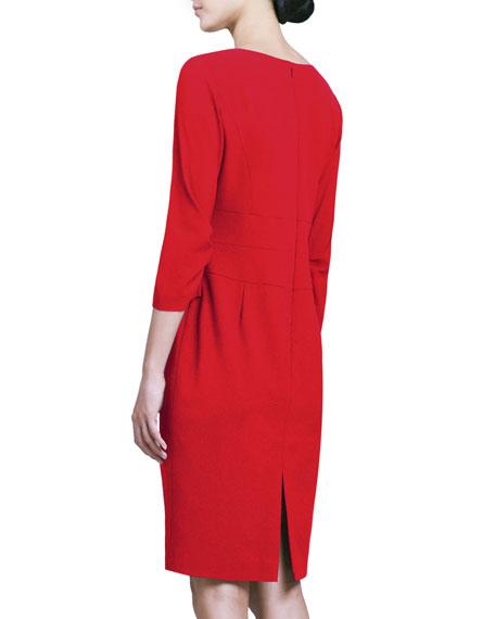 3/4-Sleeve Center-Pleat Sheath Dress