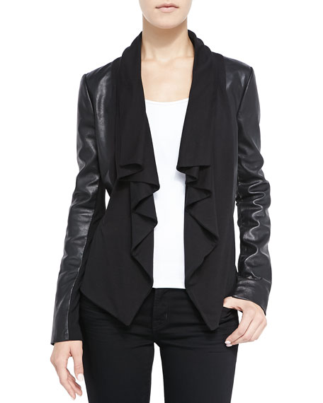 Bagatelle Ruffled Front-Drape Mixed Media Leather Jacket