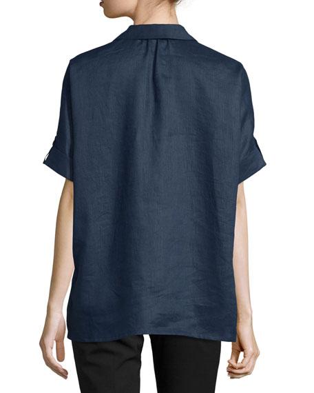 Oversized Short-Sleeve Linen Tunic, Petite