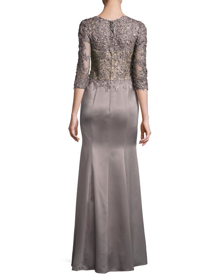 La Femme Beaded Lace & Satin Ball Gown