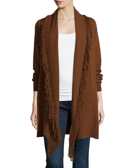 Neiman Marcus Cashmere Collection Cashmere Duster Cardigan W/ Fringe