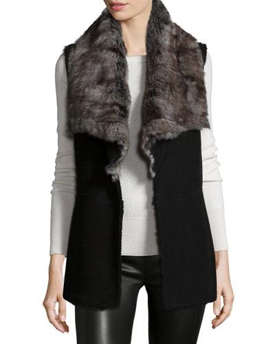 christian louboutin flats Black wool rabbit fur accent   The ...