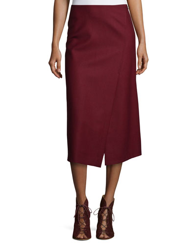 Anneal Stretch-Wool Wrap Skirt