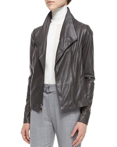Mock-Neck Leather Jacket