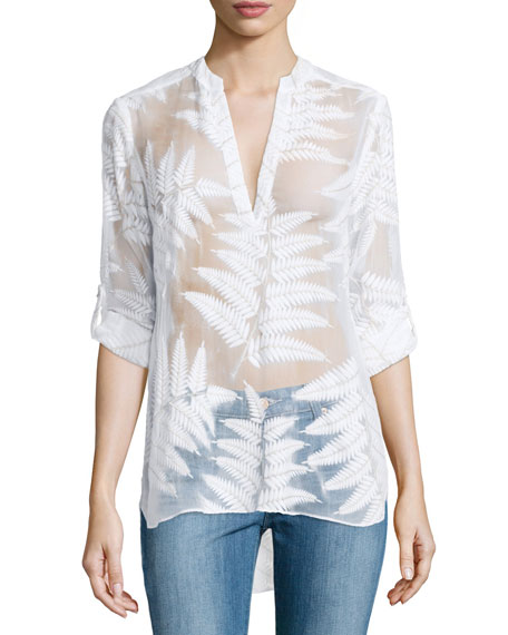 Darcelle Leaf-Print Tunic Top, White