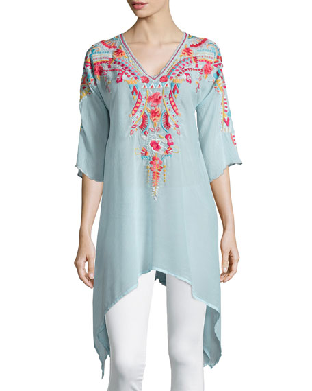Cleopatra Embroidered Asymmetric Tunic