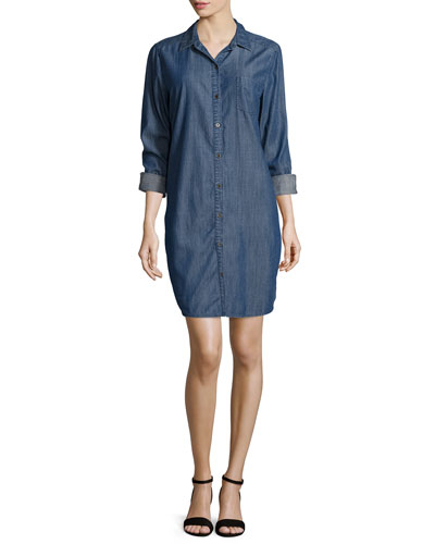 Long-Sleeve Denim Shirtdress, Petite