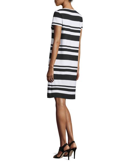 Lafayette 148 New York Short-Sleeve T-Shirt Striped Dress, Black/Multi