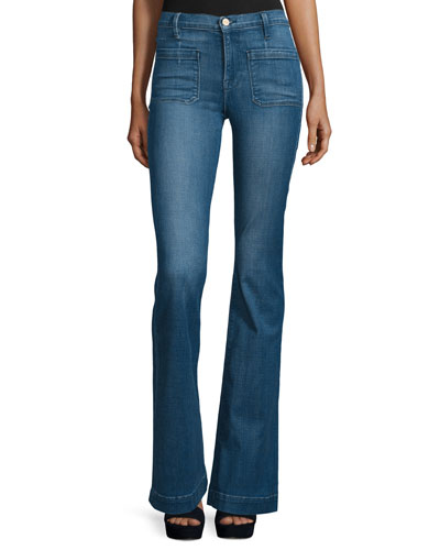 Le Bardot Striped Flare-Leg Jeans, Reeves