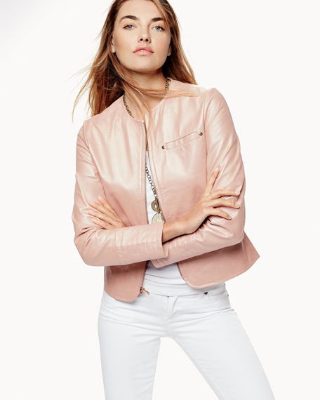 Neiman Marcus Pearlized Leather Jacket, Blush