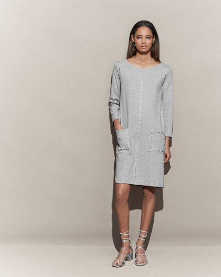 3/4-Sleeve Embellished Shift Dress, Petite