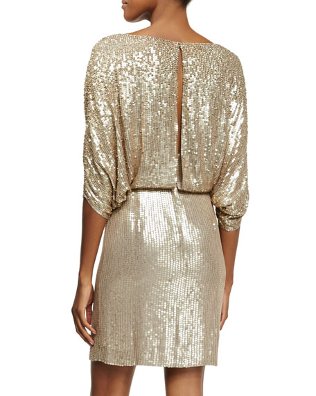 3/4-Sleeve Draped-Bodice Cocktail Dress, Dawn Gold