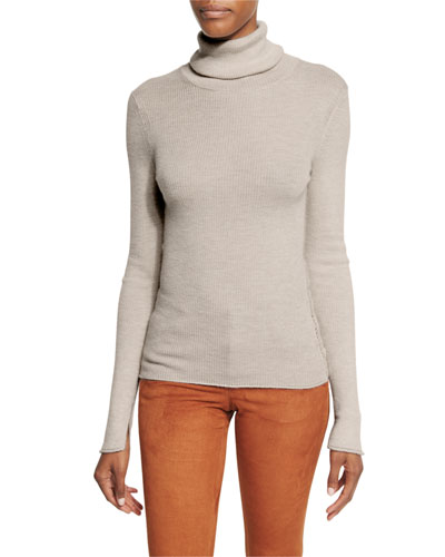 Roberta Long-Sleeve Ribbed Wool Sweater, Oatmeal Heather