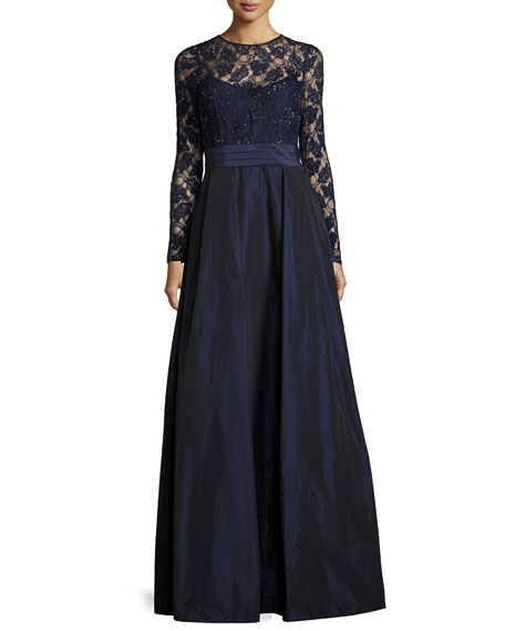 Beaded Lace & Taffeta Gown, Navy