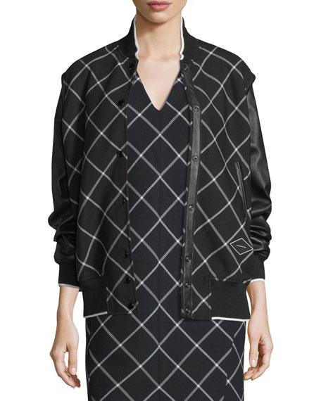 Rag & Bone Edith Windowpane Varsity Jacket, Black/White
