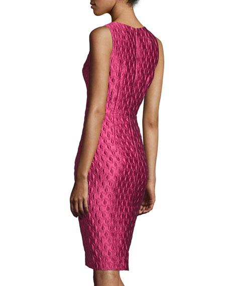 Sleeveless Jacquard Cocktail Dress, Rose