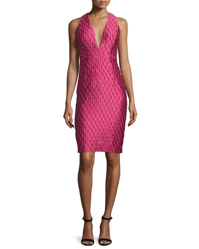 Sleeveless Jacquard Cocktail Dress, Rose