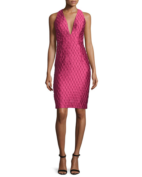 Milly Sleeveless Jacquard Cocktail Dress, Rose