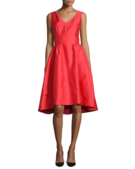 sleeveless satin high-low dress, red