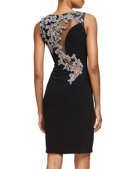 Sleeveless Embellished-Back Sheath Dress, Black/Silver