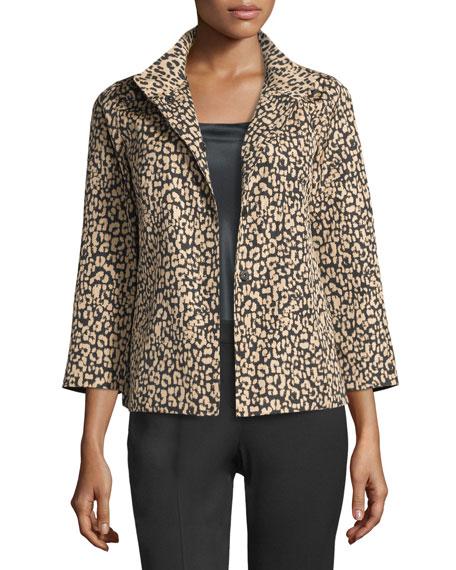 Lafayette 148 New York Vanna Leopard-Print Jacket, Black/Multi