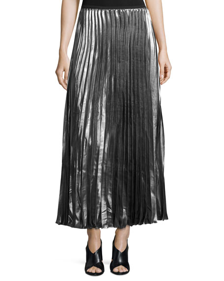 hiche metallic accordion pleated maxi skirt