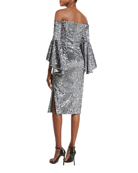 Image 3 of 4: Off-the-Shoulder Sequined Cocktail Dress, Gunmetal