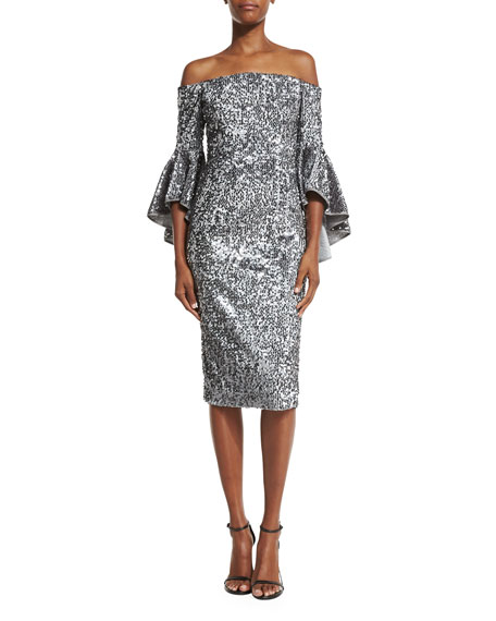 Image 1 of 4: Off-the-Shoulder Sequined Cocktail Dress, Gunmetal