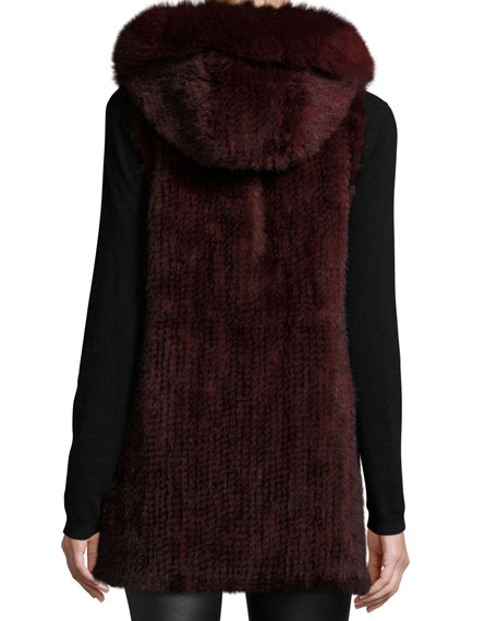 Hooded Mink Fur Vest w/ Fox Fur Trim