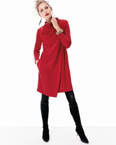 Long-Sleeve Drape-Front Knit Dress, Plus Size
