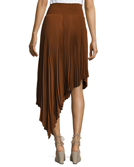 A L C Sofia Asymmetric Pleated Midi Skirt Neiman Marcus
