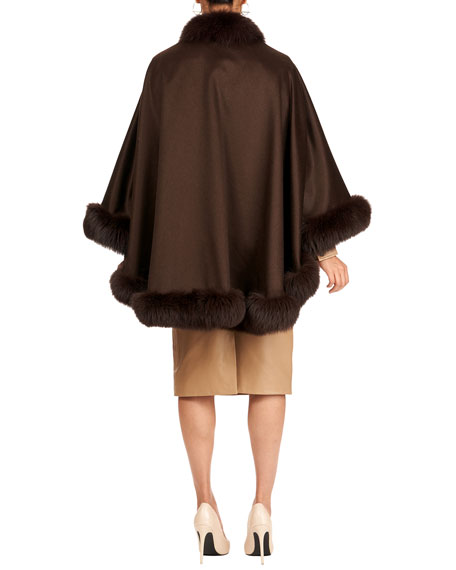 Fox-Trim Cashmere Cape