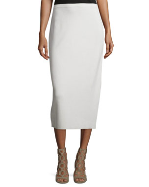 6dbca74427 Eileen Fisher Plus Size Washable Silk/Cotton Midi Pencil Skirt
