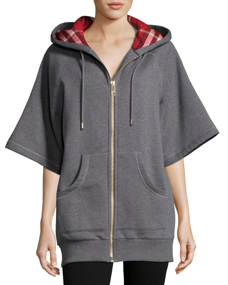 Check-Lined Short-Sleeve Long Hoodie, Gray
