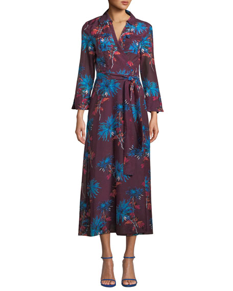 Floral-Print Cotton And Silk-Blend Wrap Dress, Purple