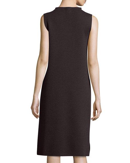 Sleeveless Funnel-Neck Wool Sheath Dress