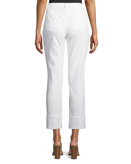 Lafayette 148 New York Thompson Wide-Cuff Cropped Denim Jeans