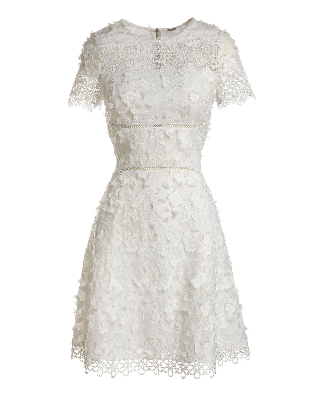 97969cc4eadf Elie Tahari Adina Short-Sleeve Floral Applique & Lace Dress | Neiman Marcus