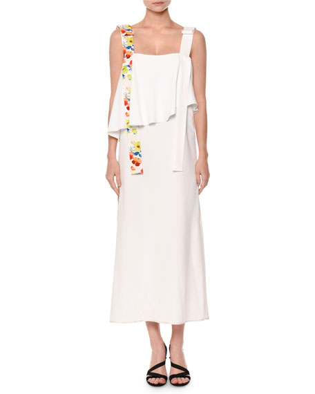 MSGM Sleeveless Popover Midi Dress, White